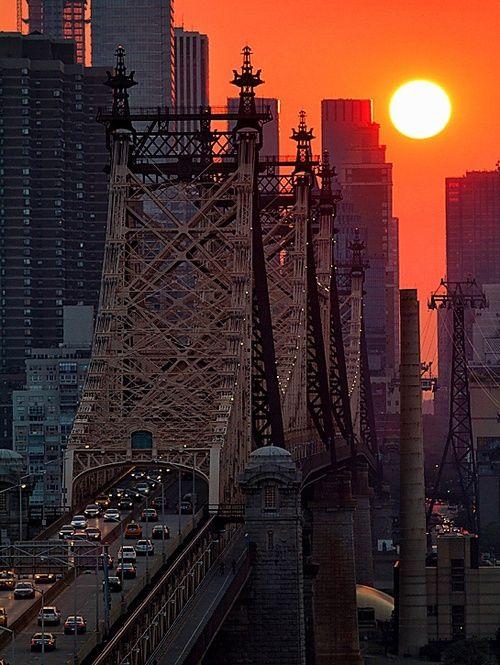 New York City. Sunset Over the 59th St Bridge