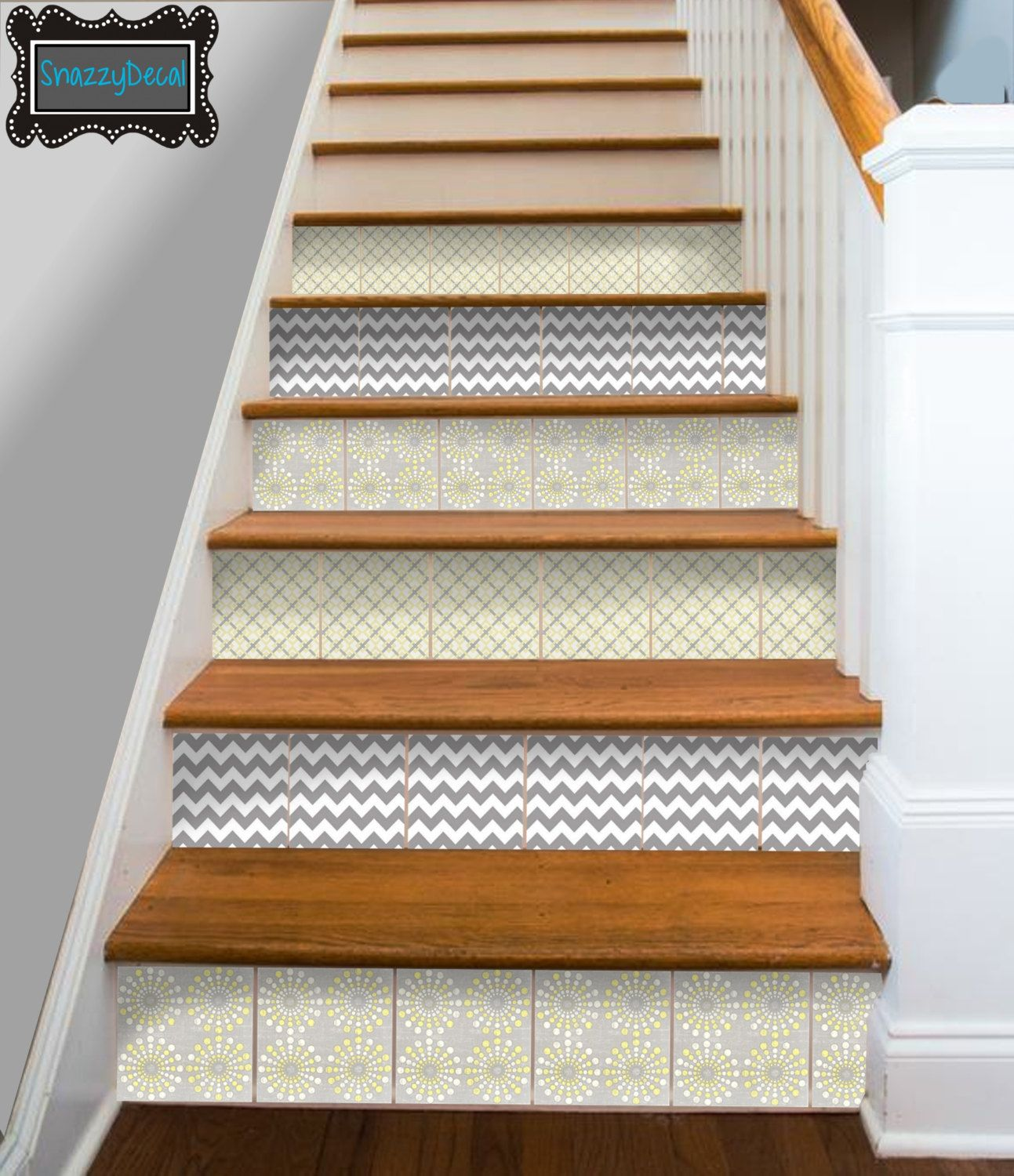 Kitchen Bathroom Wall Stair Riser Tile Decals Vinyl Sticker :  Yellow/grey mix Fmix5 (14.95 USD) by SnazzyDecals