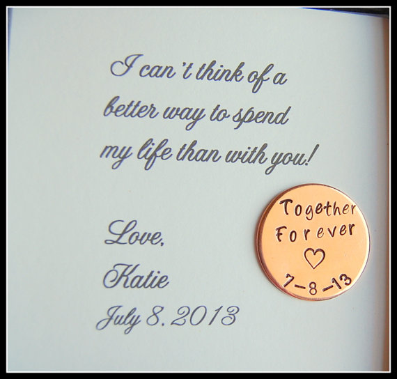 Grooms Gift From Bride Love Notes Coin Together Forever Personalized For Groom On Wedding Day Copper Or Nickel Silver Etsy 19 00