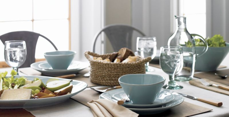 Marin Blue Small Oval Platter + Reviews | Crate and Barrel