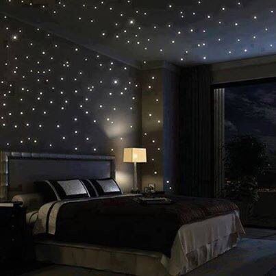 Starlight bedroom. Fibre optic lights inset to the walls  ceiling.