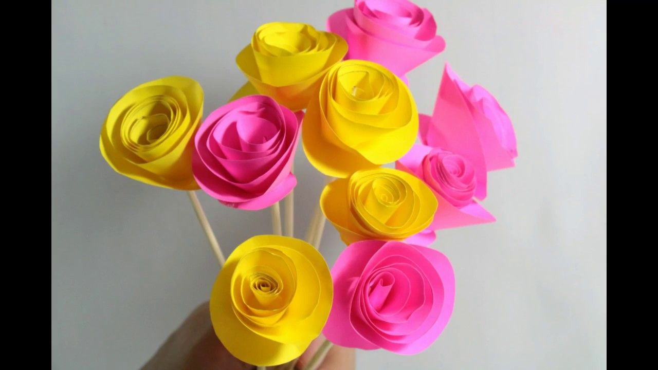 Diy easy rolled paper roses for mothers day wedding flowers or simple steps to make diy paper flower bouquet for mothers day izmirmasajfo