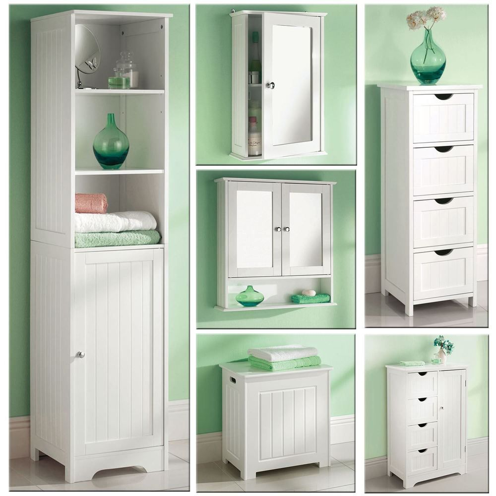 White Wooden Bathroom Cabinet Shelf Cupboard Bedroom Storage Unit Free Standing Ebay Wooden Bathroom Cabinets Wall Mounted Bathroom Cabinets Top 10 Bathrooms