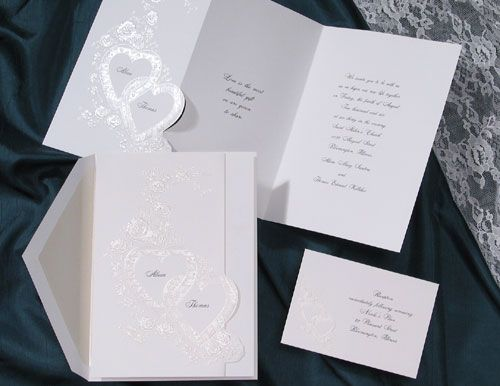 Tri Fold Card With Double Hearts By Birchcraft Heart Wedding Invitations Wedding Invitations Invitations