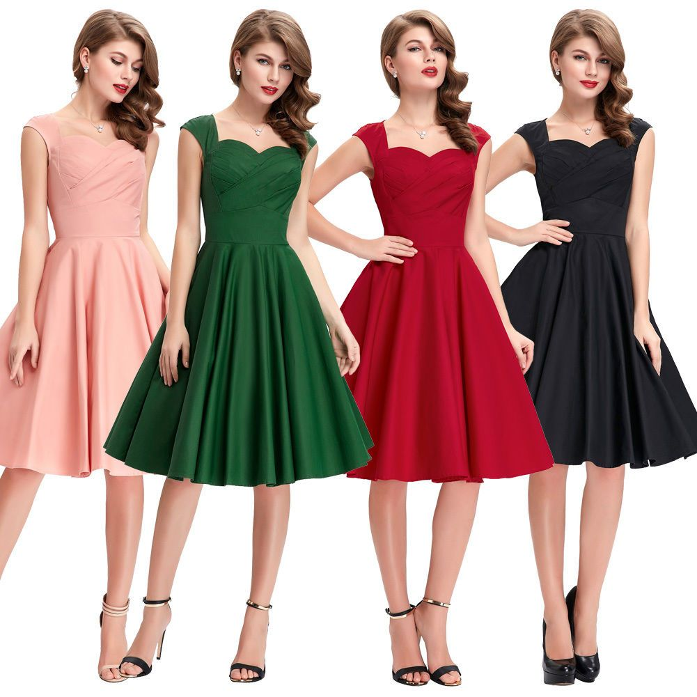 Retro vintage pinup formal short party cocktail s prom dress nylon