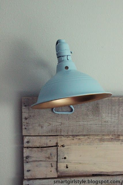 Clamp lamp from lowes taped over the electrical inside spray painted blue
