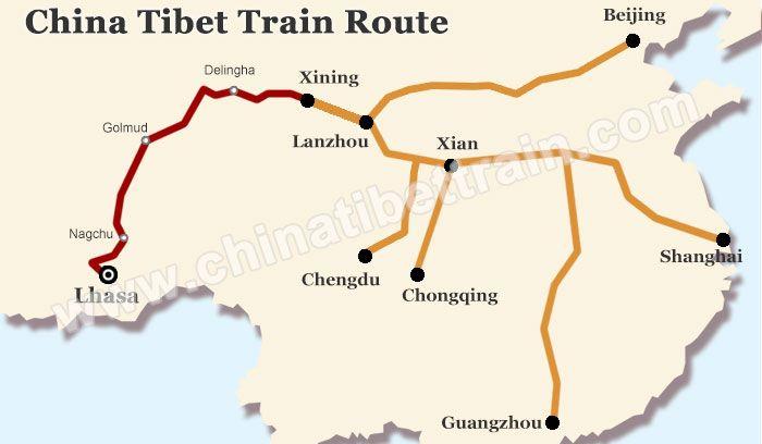 Lhasa China Map.China Tibet Train Route Map China Tibet Train Tour Pinterest