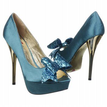 Luichiny Kissy Kiss Shoes (Teal Satin) - Women's Shoes - 6.5 M