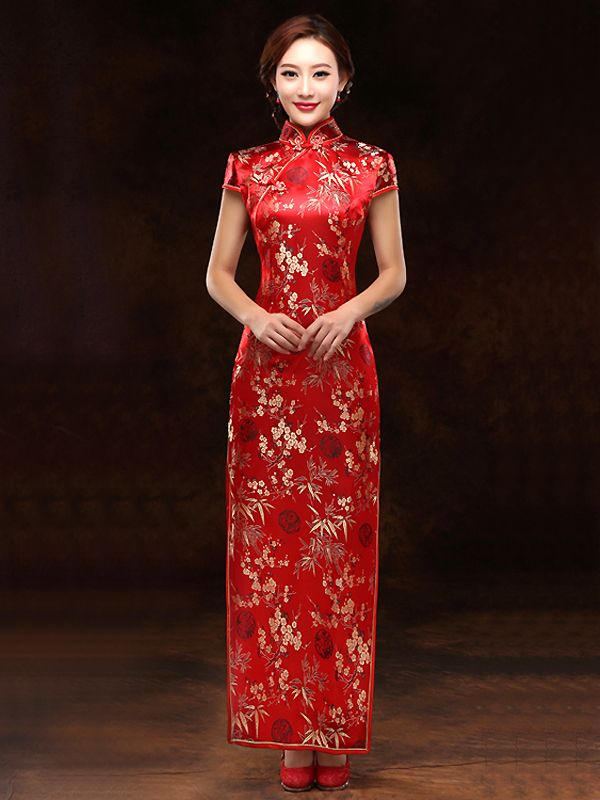 Gold Bamboo Red Brocade Qipao Traditional Chinese Wedding Dress