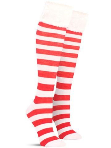 26a966aa0 Awesome Christmas Faux Fur Cuff Knee High Socks for Women