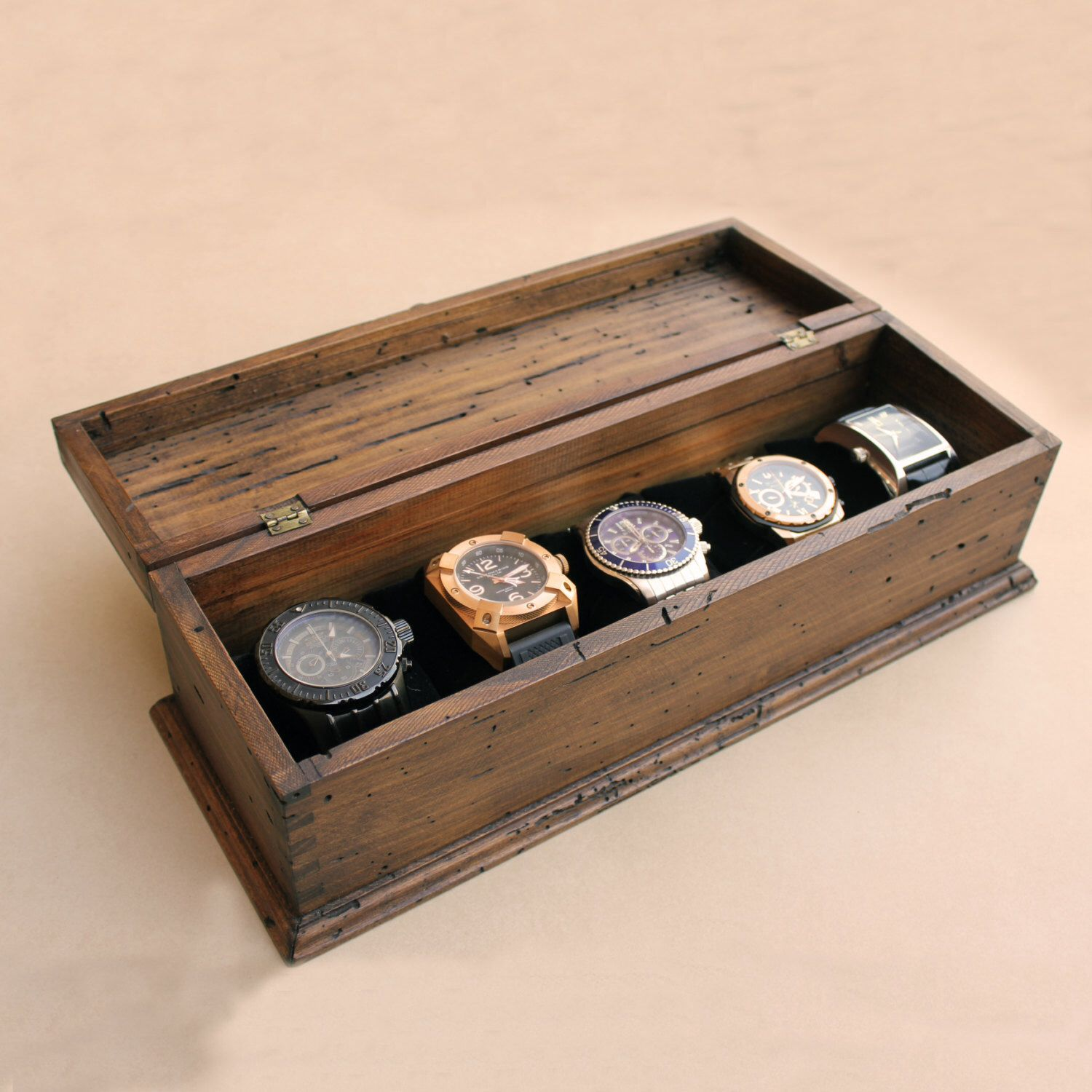 Personalized Rustic Men's Watch Box for 5 watches by