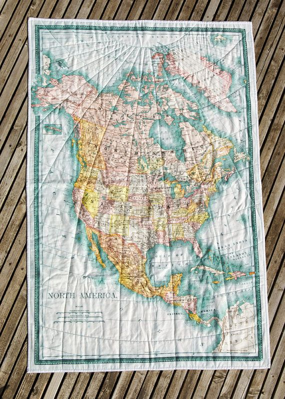 made to order QUILTER'S one yard panel vintage NORTH by saltlabs, $55.00