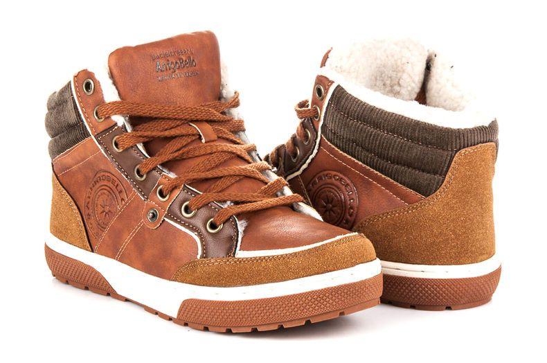 Arrigo Bello Ocieplane Trampki Meskie Brazowe Boots Hiking Boots High Top Sneakers