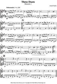 Haydn Three Duets Menuetto 1 Sheet Music For Violin Duet