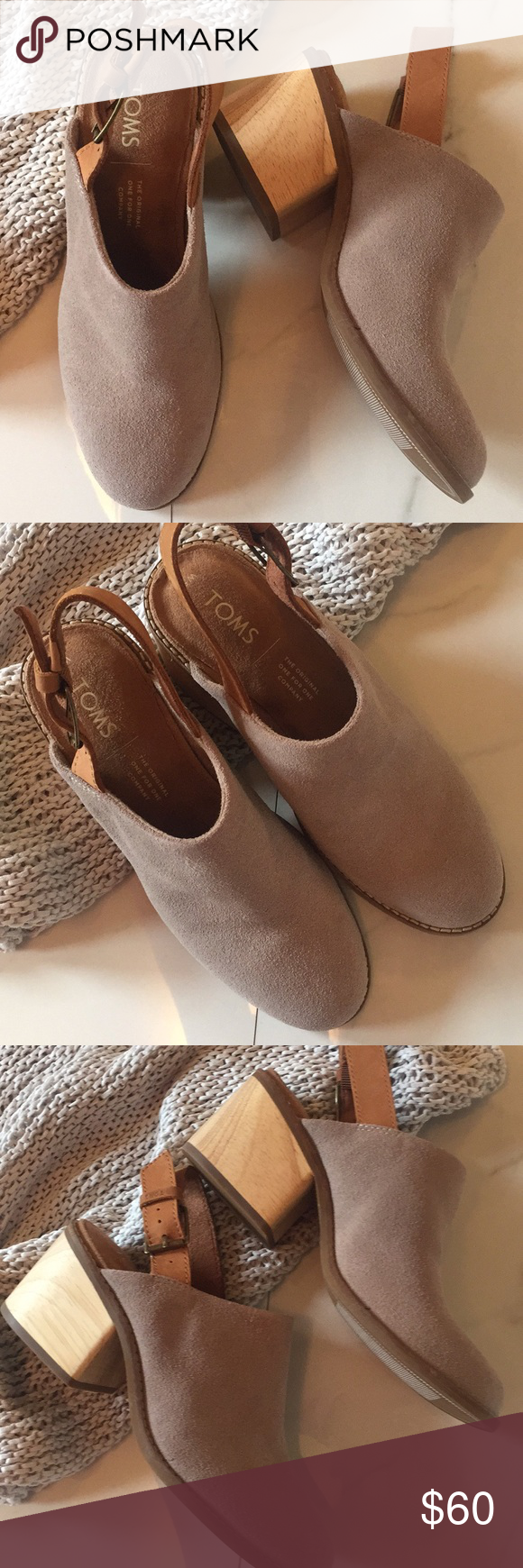 cc26b269c5a Toms Leila slingback mule Toms Leila slingback mule is NWOT. Leather  slingback strap and wood grain heel blend well with the taupe suede upper  to give this ...