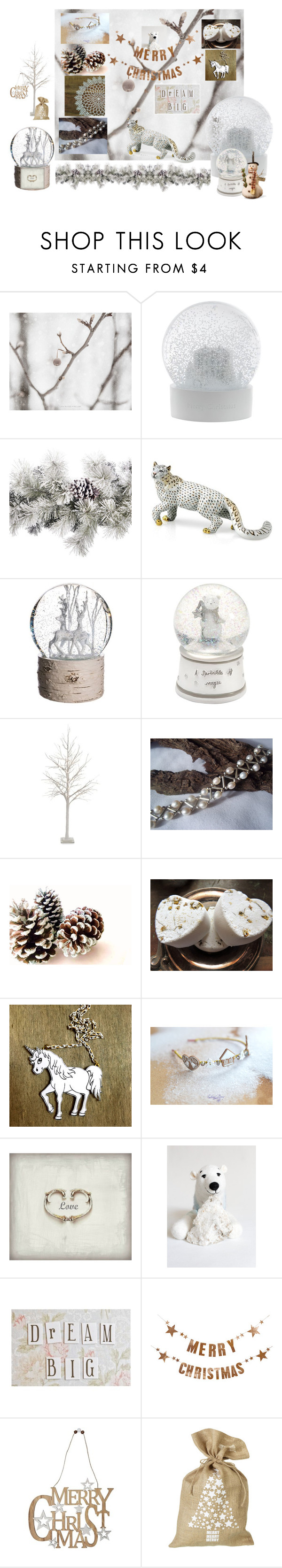 """White christmas decor"" by vualia ❤ liked on Polyvore featuring Wedgwood, Amara, Herend, Allstate Floral, Mamas & Papas, Kess InHouse, Bloomingville, M&Co, Parlane and National Tree Company"