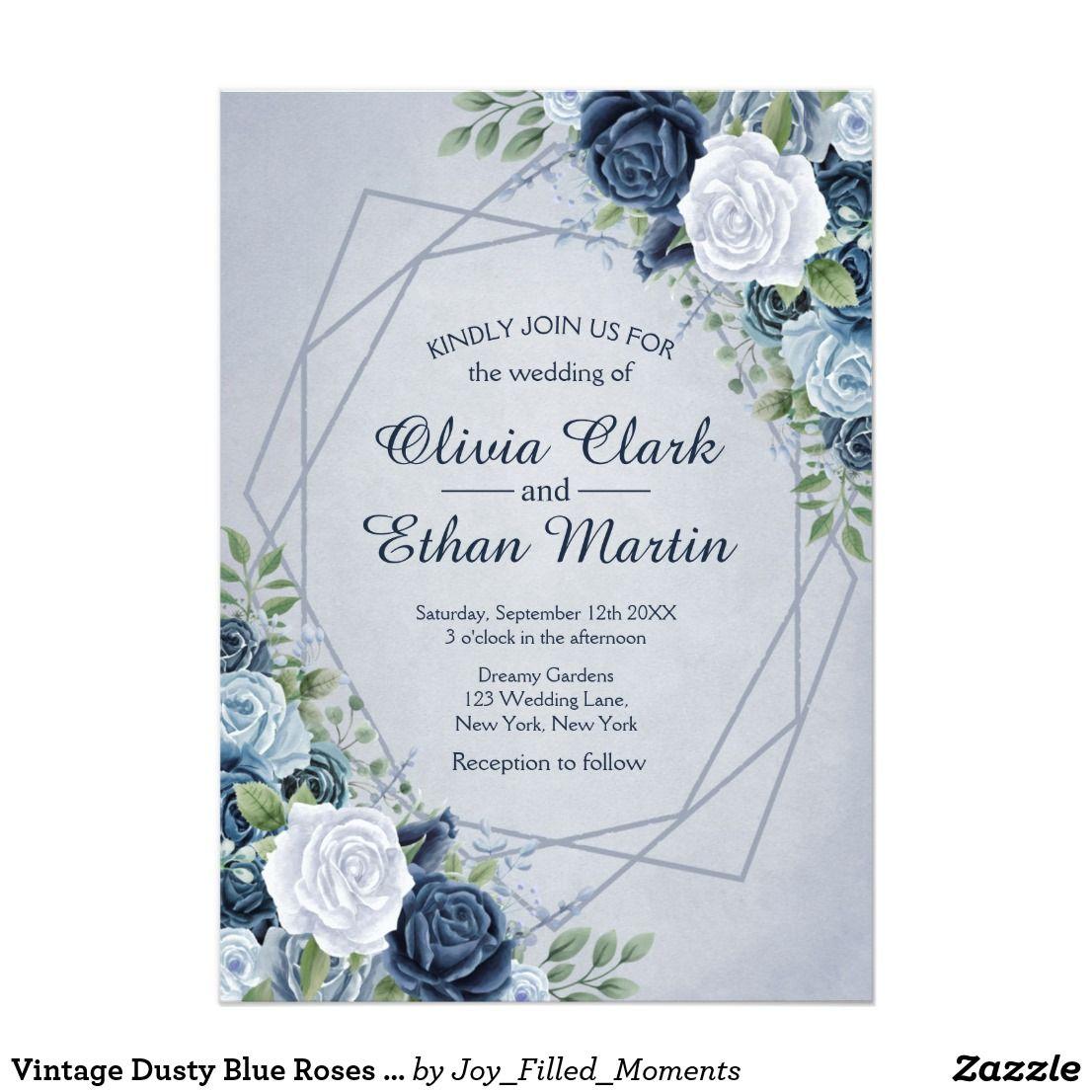 Vintage Dusty Blue Floral Geometric Invitation Zazzle