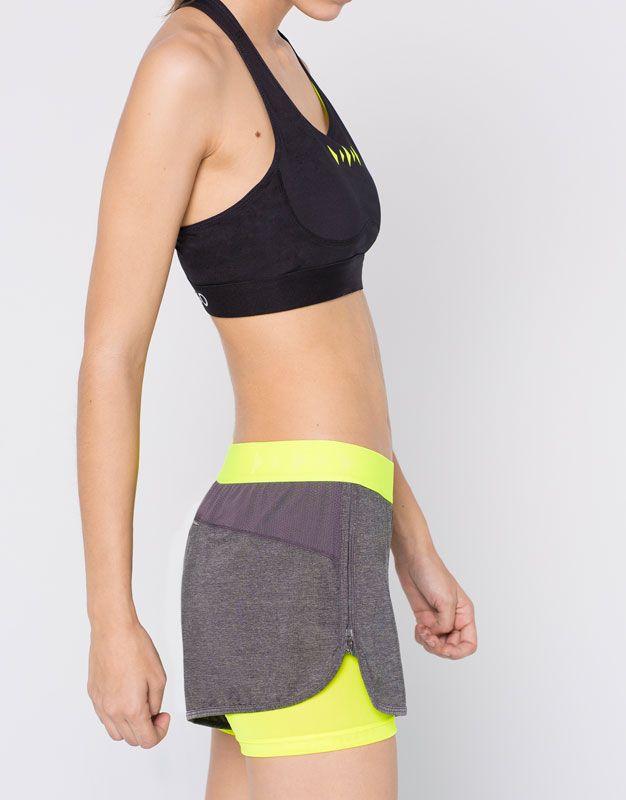Pull&Bear - mujer - gymwear - pantalón corto de deporte de dos capas - vig-oscur - 05691302-I2016
