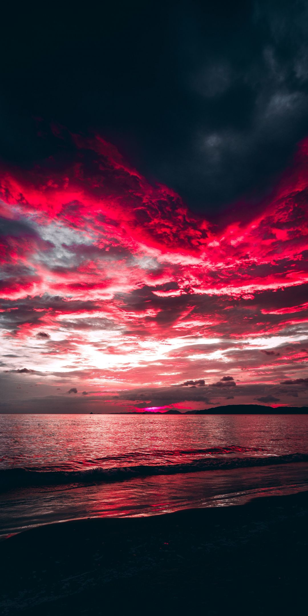 Sea Sunset Red Clouds Nature 1080x2160 Wallpaper Maroon Aesthetic Sunset Wallpaper Aesthetic Wallpapers Hd wallpaper sunset clouds road hills