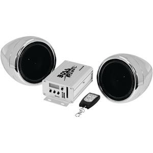 """600W max amp Bluetooth(R) audio streaming  Weatherproof, 3"""" chrome full-range speakers USB & SD(TM) Card inputs 3.5mm aux input Compatible with audio output of smartphones & MP3 players"""