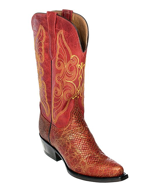 Red & Brown Snake Print Cowboy Boot Women | Products