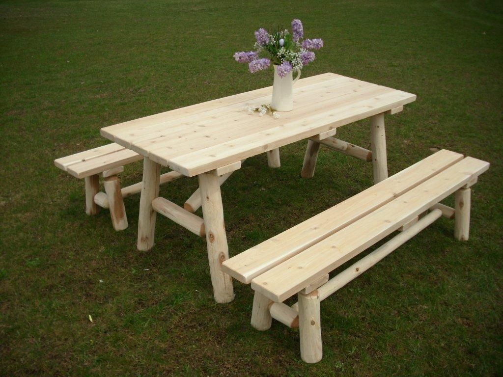 6u0027 Rustic White Cedar Log Traditional Picnic Table With Detached Benches.  Great Rustic Outdoor Furniture Piece For The Patio Or Back Yard.