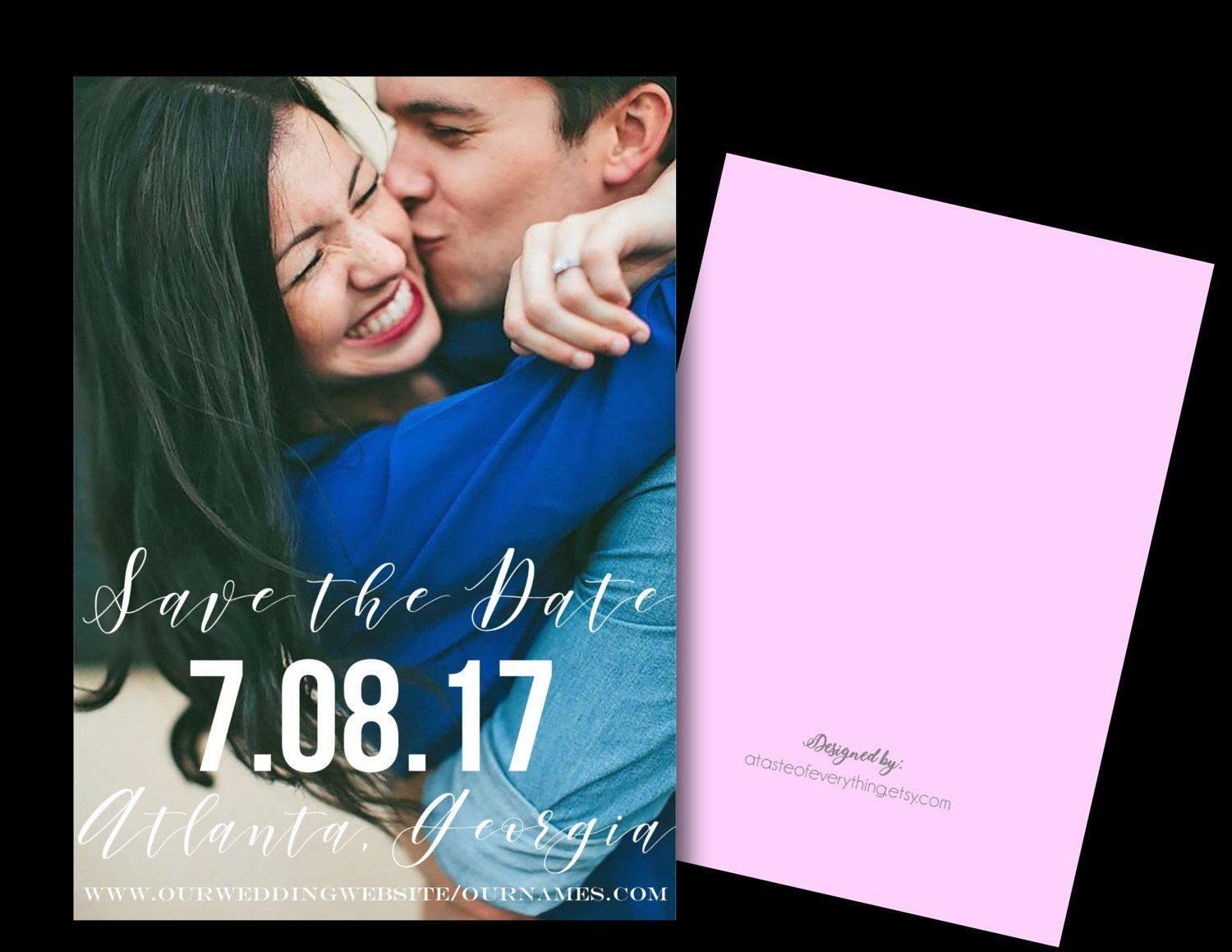 Fully customized wedding photo save the date fall 2017 2018 Invitation photo invitation diy or printed pink blush spring summer wedding by atasteofeverything on Etsy https://www.etsy.com/listing/509736251/fully-customized-wedding-photo-save-the