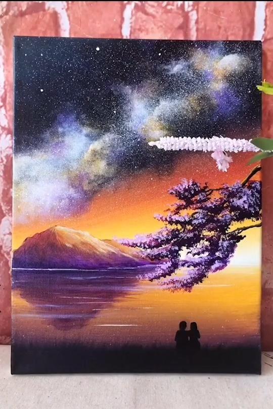 Easy Acrylic Galaxy Painting Idea