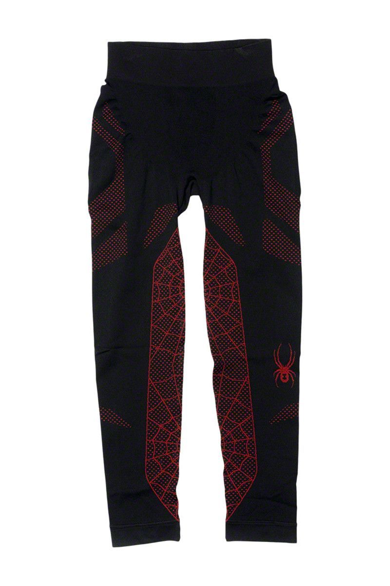 Spyder Boys Racer Baselayer Pants: Black/Volcano