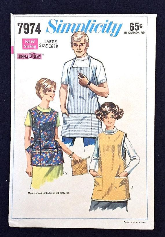 VINTAGE APRON Sewing Pattern - Misses & Mens Aprons Potholder 7974 ...