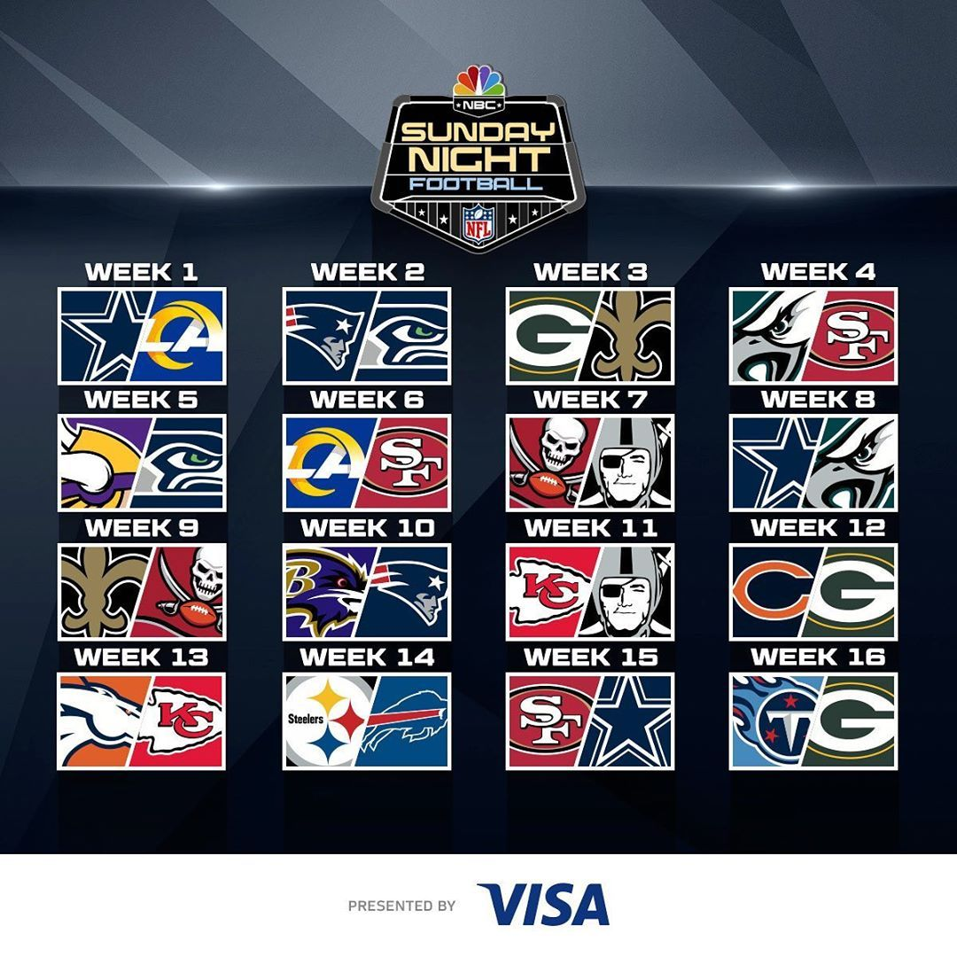 Nfl On Instagram Waiting All Day For The Sunday Night Football Schedule Snfonnbc 2020 Nfl Schedule Release L In 2020 Sunday Night Football Nfl Sunday Night
