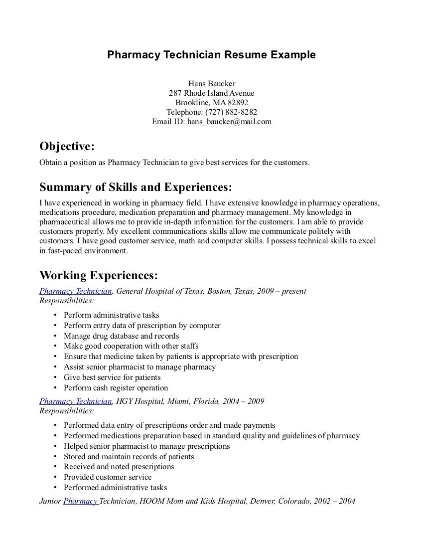 Pharmacy Tech Resume Samples | Sample Resumes | Sample Resumes