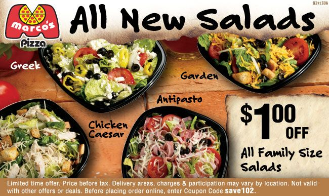 photograph about Toppers Pizza Place Printable Coupons titled Marcos Pizza: $1 off Salads Printable Coupon Coupon codes