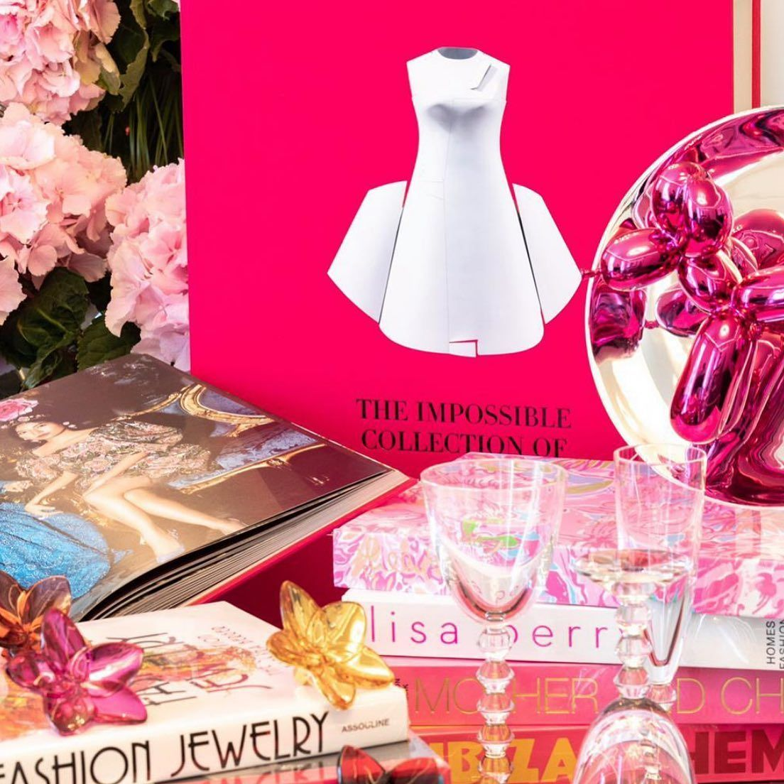 It S A Pink Party With The Assouline Impossible Collection Of Fashion Jeffkoons Balloon Dog Plate Baccarat Cha Champagne Flutes Pink Parties Balloon Dog