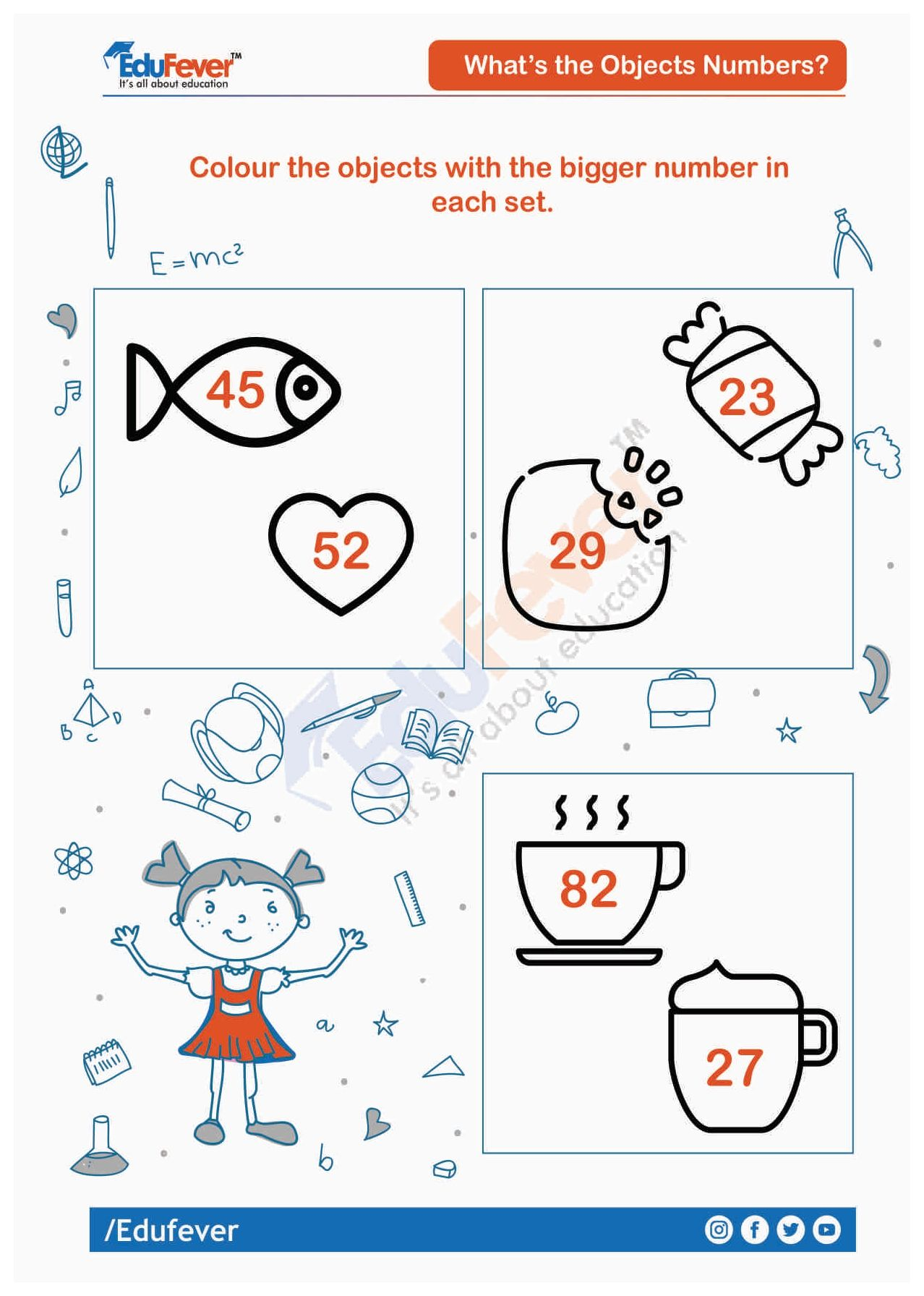 Colour Object With Bigger Number Ukg Worksheet In