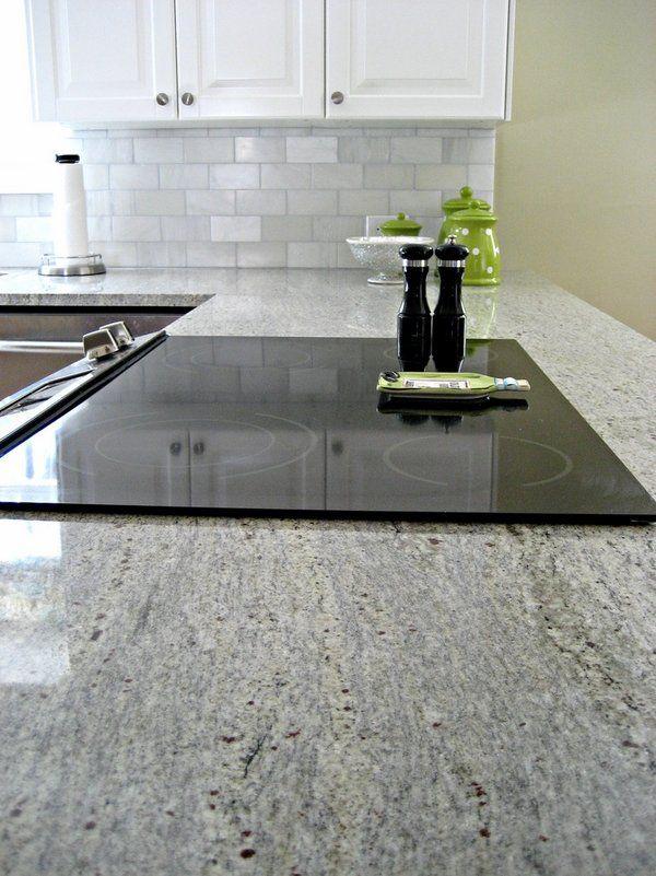 Contemporary Kitchen Countertops Kashmir White Granite Countertops White  Cabinets