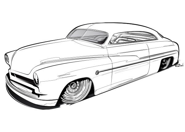 lowrider cars drawings sketch coloring page