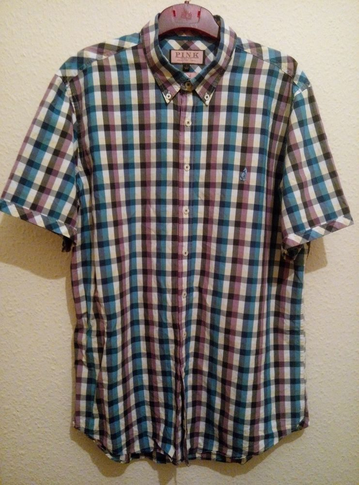 THOMAS PINK London Casual Check Shirt White Blue and