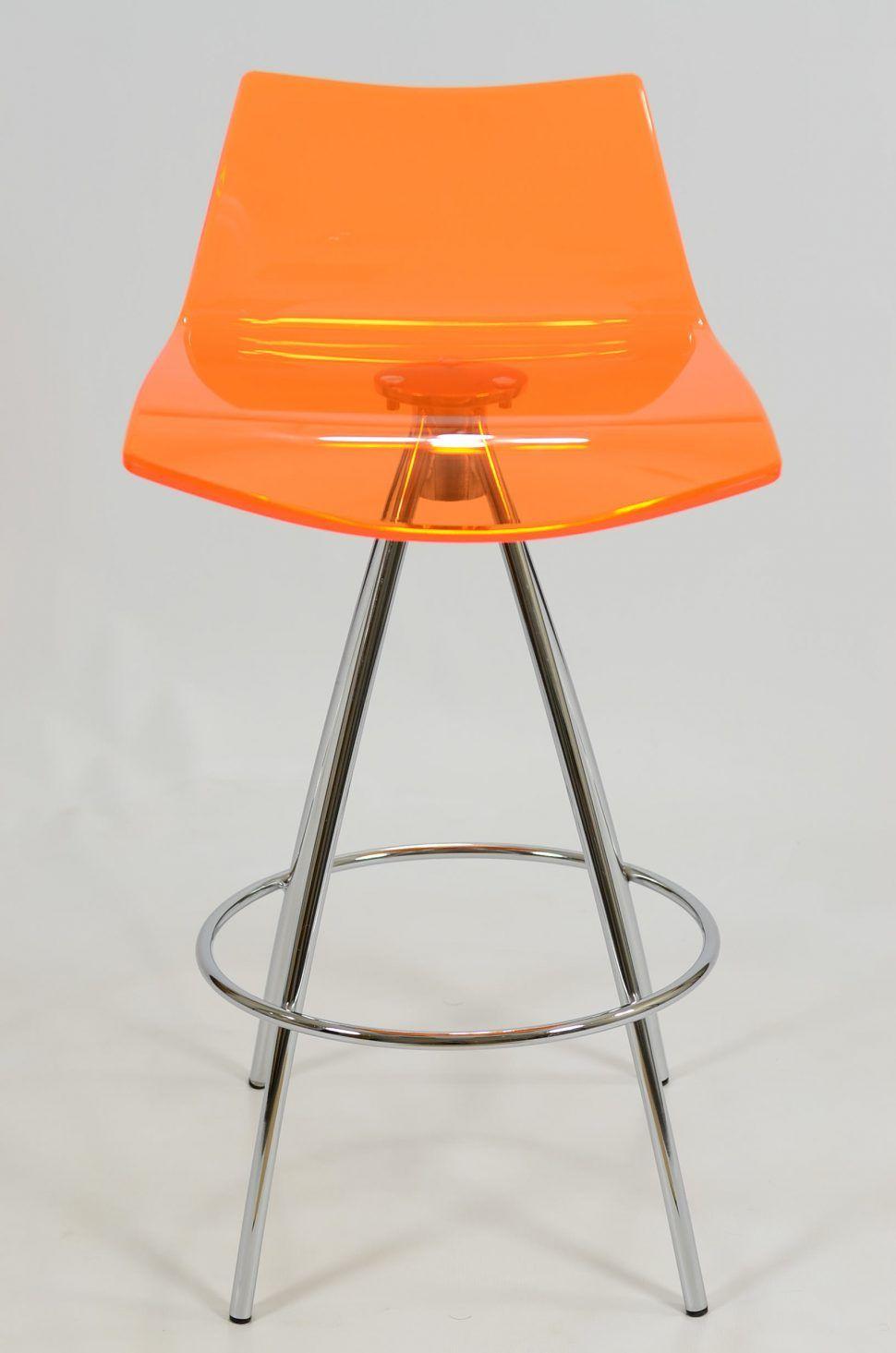 Monaco Acryl Barhocker Orange Cool Lucite Stuhle Herausragende