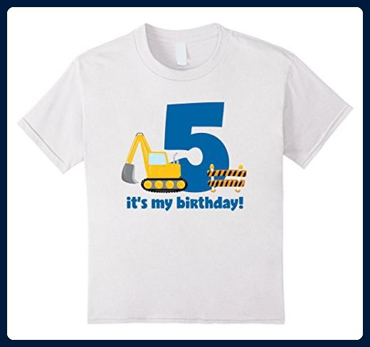 Kids Its My 5th Birthday Construction Party T Shirt 6 White