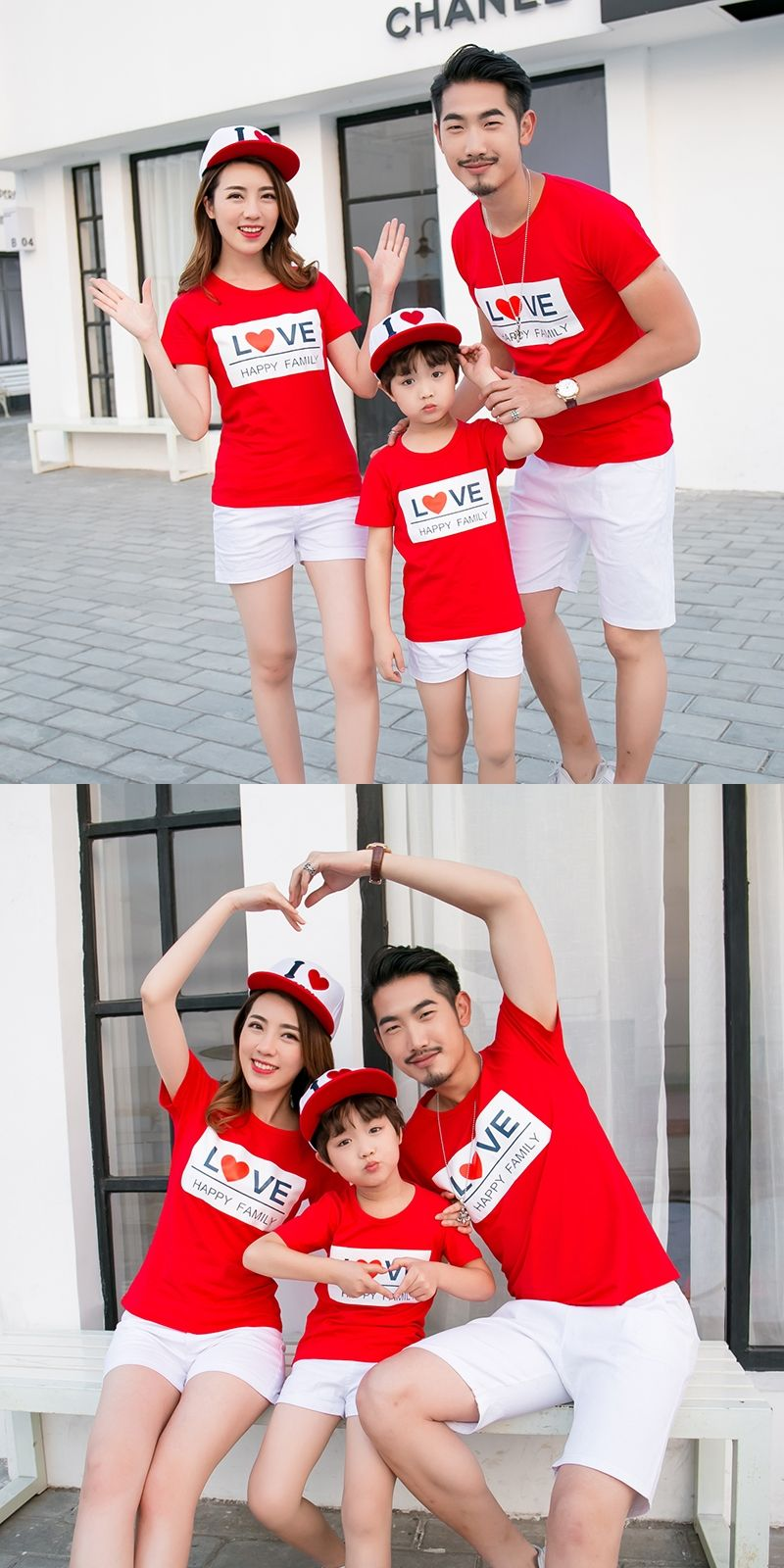 2dfa2b1a1d190 LOVE Family Set Family Matching Outfit Cotton T shirts Mother Daughter  Father Son T shirt Clothes