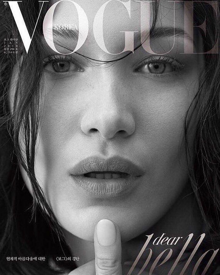 "2,544 curtidas, 6 comentários - Hadid News (@hadidnews) no Instagram: ""#BellaHadid on the cover of Vogue Korea January 2018. Photographed by JooYounh Ahn. """