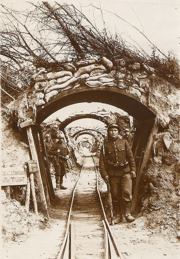 "old-faces: "" World war one trench (called Petrograd) at Kaaskerke, Belgium, 1917 """