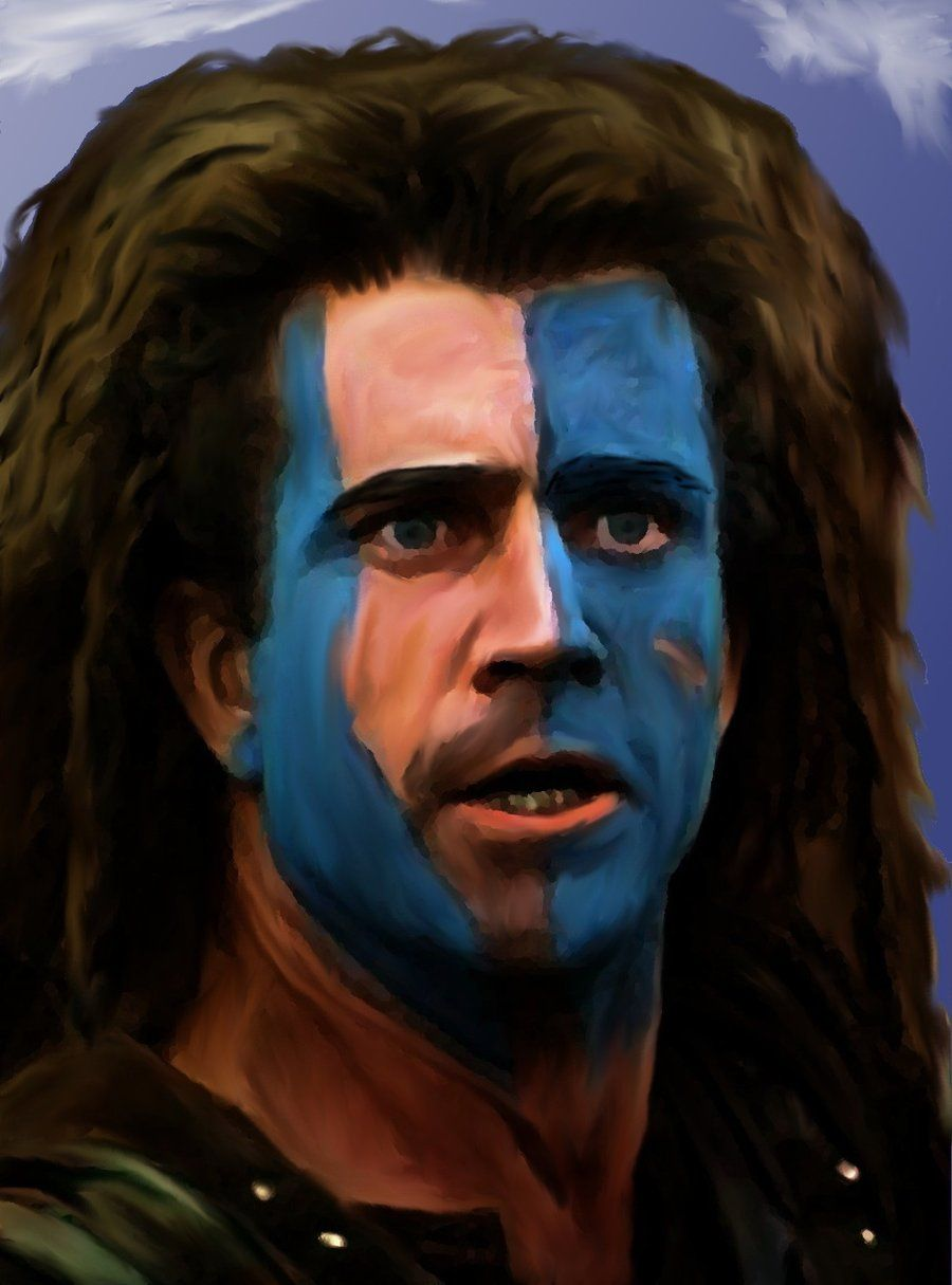The image portrays William Wallace from the movie Brave Heart. He is known for his love for Scotland and his effort to free his country from the authority of King Edward I of England. These traits can also be used to describe Macduff, who is willing to fight for the better good of his country. Macduff left his family in a very dangerous time, in order to gather support in stopping Macbeth's tyrannical regime.