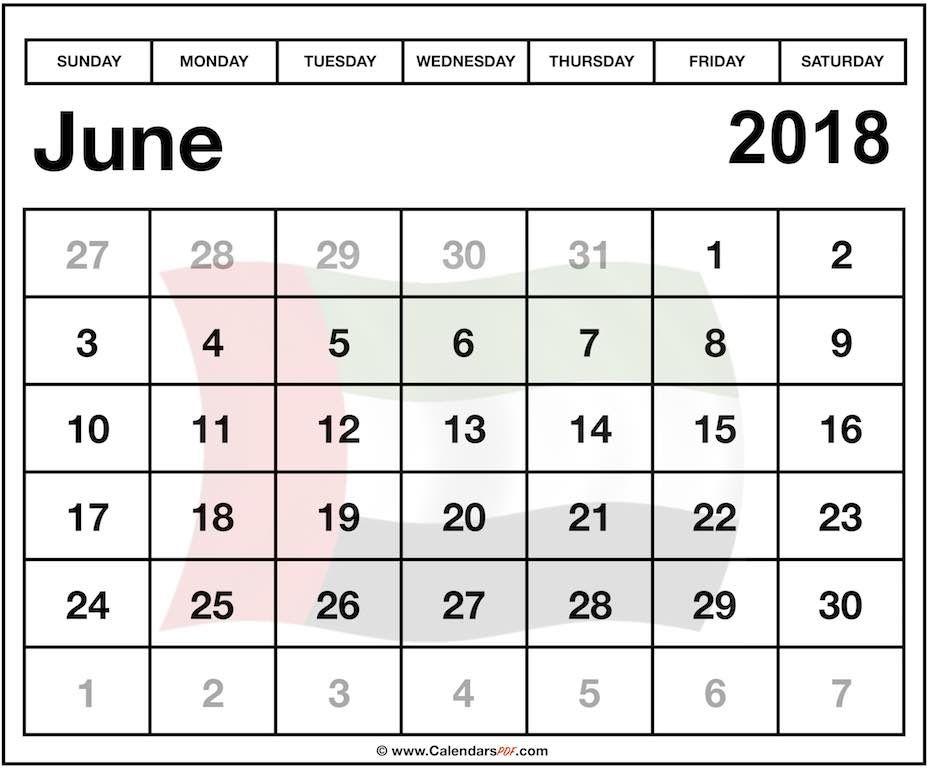print uae june 2018 calendar