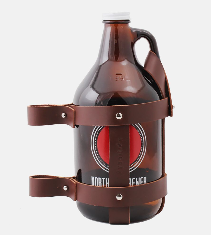 Leather Bike Growler Carrier Leather Bicycle Fyxation Growler Carrier