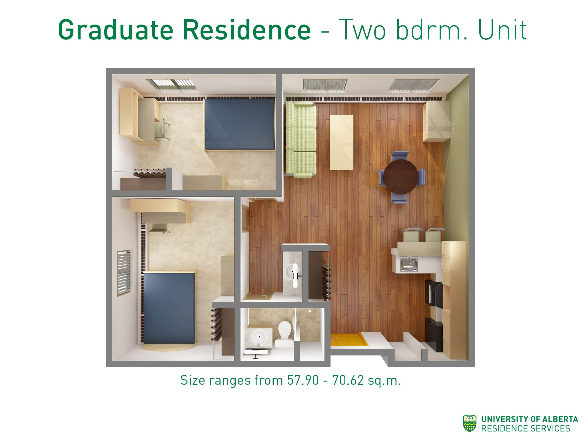 Layout Of A 2 Bedroom Unit In Graduate Residence At Ualberta Apartments For Rent 2 Bedroom Apartment Cheap Bedroom Ideas