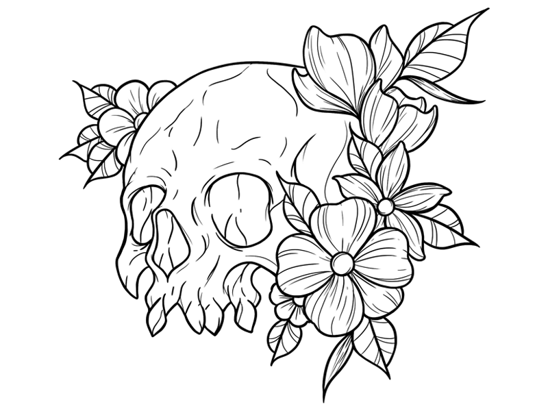 New school Skull with flowers Tattoo design by Lucrezia Ferrari