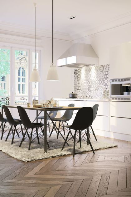 Revetement Sol Cuisine 19 Modeles De Sols Pour Une Cuisine Au Top Cuisines Dans Salon Decoration Maison Cuisine Ouverte