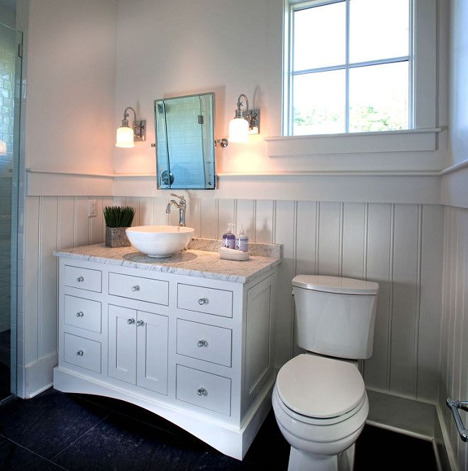 This Farmhouse Bathroom Offers Plenty Of Charm With The Classic Wainscoting And White Vanity Paint Color Is Benjamin Moore Simply Home Bunch Blog
